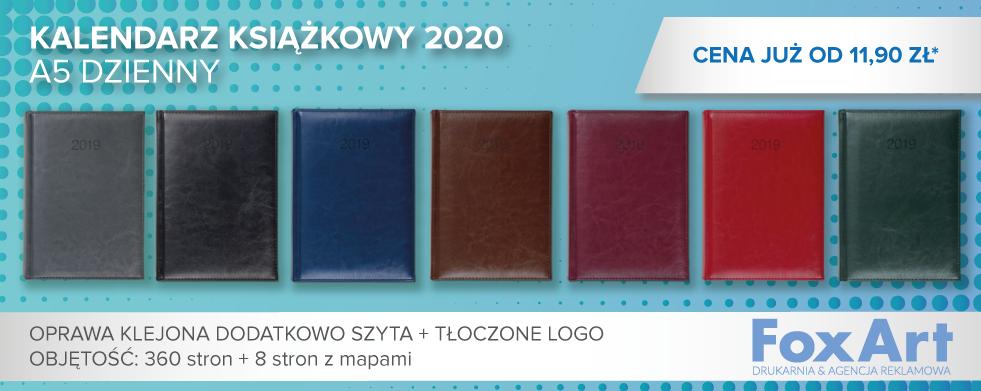 Kalendarze książkowe 2020 z tłoczonym logo